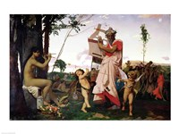 Anacreon, Bacchus and Aphrodite, 1848 Fine Art Print