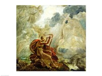 Ossian Conjures Up the Spirits with His Harp on the Banks of the River of Lora Fine Art Print