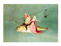 The Temptation of St. Anthony, right hand panel, detail of a couple riding a fish Fine Art Print