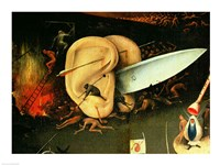 The Garden of Earthly Delights: Hell, right wing of triptych, detail of ears with a knife, c.1500 Fine Art Print