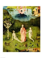 The Garden of Earthly Delights: The Garden of Eden, left wing of triptych, c.1500 Fine Art Print