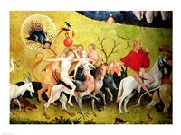 The Garden of Earthly Delights: Allegory of Luxury, detail of figures riding fantastical horses Fine Art Print