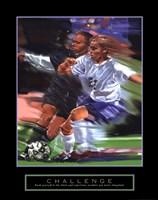 Challenge - Soccer Framed Print
