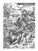 Samson slaying the lion Fine Art Print
