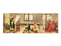 A School Teacher is Explaining the Meaning of a Letter to Illiterate Workers 1516 Fine Art Print