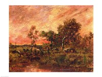 Wooded Landscape with a Faggot Gatherer Fine Art Print