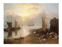 Sun Rising Through Vapour: Fishermen Cleaning and Selling Fish, c.1807 Fine Art Print