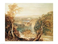 The River Wharfe with a distant view of Barden Tower Fine Art Print