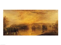 The Lake, Petworth: Sunset, a Stag Drinking Fine Art Print