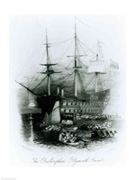 The Bellerophon at Plymouth Sound in 1815 Fine Art Print