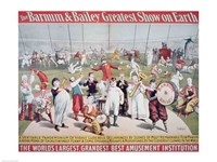 Poster advertising the Barnum and Bailey Greatest Show on Earth Framed Print