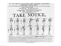 US Army Recruiting Poster Showing Various Positions of a Soldier Under Arms Fine Art Print