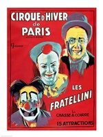 Poster advertising the 'Cirque d'Hiver de Paris' featuring the Fratellini Clowns Fine Art Print