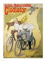 Poster advertising Gladiator bicycles and motorcycles Fine Art Print
