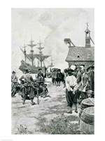 The Landing at Jamestown from a Dutch Man-of-War Fine Art Print