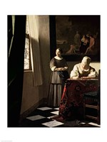 Lady writing a letter with her Maid Fine Art Print