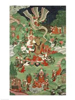 Buddha cutting a tuft of hair, Tibetan temple banner Fine Art Print