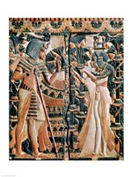 Tutankhamun and his wife Ankhesenamun in a garden Fine Art Print