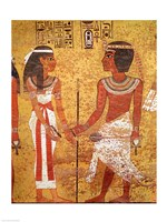 Tutankhamun and his wife, Ankhesenamun Fine Art Print