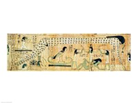 Funerary papyrus of Djedkhonsouefankh depicting Geb and Nut Fine Art Print