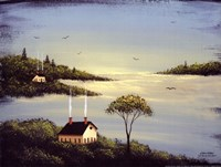 Salt Box by the Lake I Framed Print