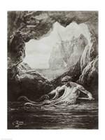 Gilliatt struggles with the giant octopus Fine Art Print