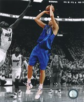 Dirk Nowitzki Game 1 of the 2011 NBA Finals Spotlight Action Framed Print