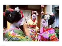 Three geishas, Kyoto, Honshu, Japan (three women) Fine Art Print