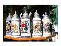 Group of beer steins on a table, Munich, Germany Fine Art Print