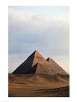 Pyramids on a landscape, Giza, Egypt Fine Art Print