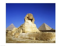 Great Sphinx and pyramids, Giza, Egypt Framed Print