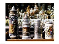 Close-up of beer steins, Bavaria, Germany Fine Art Print