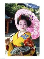 Geisha holding a parasol, Kyoto, Japan Fine Art Print