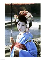 Geisha looking sideways, Kyoto, Japan Fine Art Print