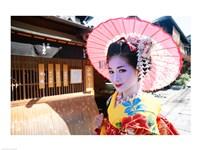 Geishadressed in a kimono, Kyoto, Honshu, Japan Fine Art Print
