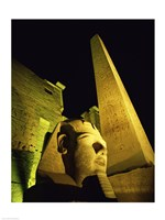 Statue at night, Temple of Luxor, Luxor, Egypt Fine Art Print