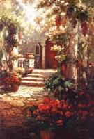 Courtyard Romance Framed Print