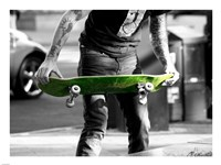 Green Skateboard Framed Print