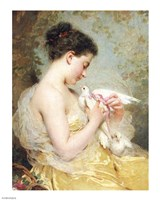 A Beauty with Doves Fine Art Print