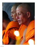 Buddhist Monk Meditation in Wat Khung Taphao Framed Print