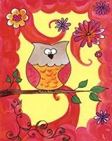 Owl In Pink Swirl Fine Art Print