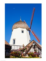 Windmill on Alisal Road, Solvang, Santa Barbara County, Central California up close Fine Art Print