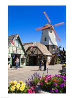 Windmill on Alisal Road, Solvang, Santa Barbara County, Central California, USA Framed Print