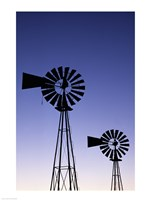 Silhouette of windmills, American Wind Power Center, Lubbock, Texas, USA Fine Art Print