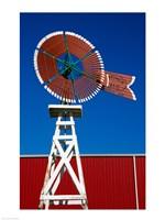 Red Windmill in Texas Fine Art Print