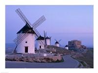 Windmills, La Mancha, Consuegra, Castilla-La Mancha, Spain In Blue Light Fine Art Print