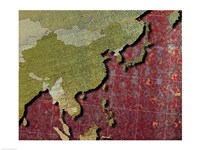 Close-up of a world map - red Fine Art Print