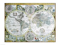 Close-up of a world map, John Speed, 1626 Fine Art Print
