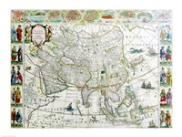 Close-up of the map of Asia, Joan Bleau, 1630 Fine Art Print