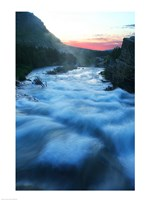 River flowing around rocks at sunrise, Sunrift Gorge, US Glacier National Park, Montana, USA Framed Print